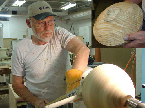 Siegfried starts a vessel from a silver maple burl.