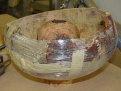 Sean's burl vessel at rest.