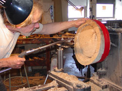 Sean works on the oak piece.