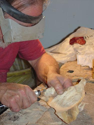 Sean carves the scrap bowl.