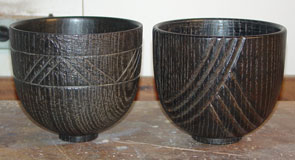 Jean-François's newest pair of finished oak bowls.