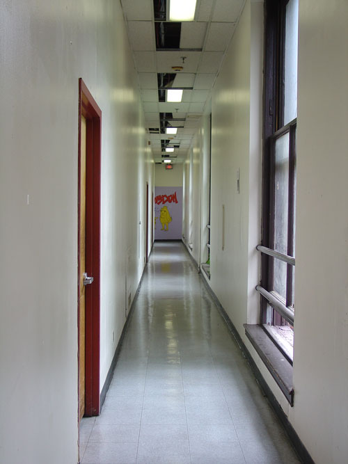 The third-floor hallway.