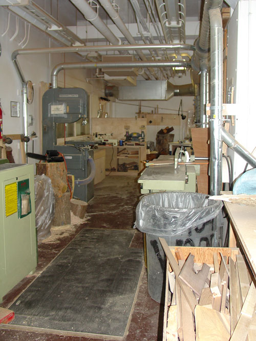 Inside the wood shop.