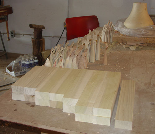 A stack of cut poplar waits to be turned into waves by Siegfried.