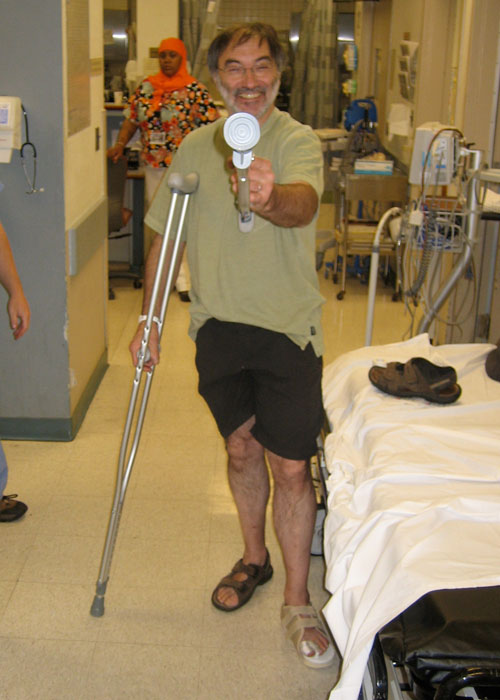 Jean-François takes aim with his new crutch.