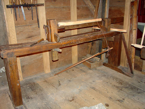 Pole lathe in the Dominy workshop.