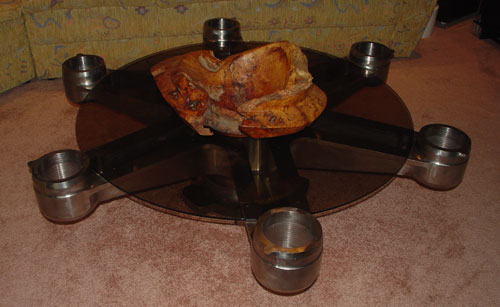 Helicopter rotor coffee table with wood bowl.