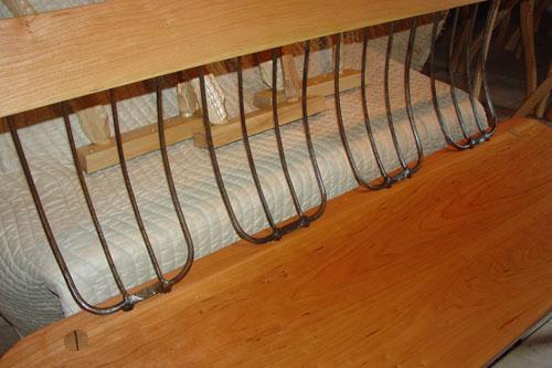 Detail of pitchfork bench.