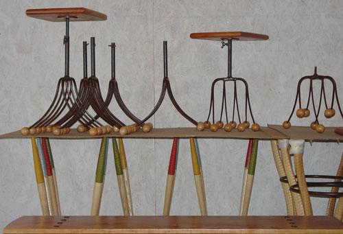 Pitchfork tables.