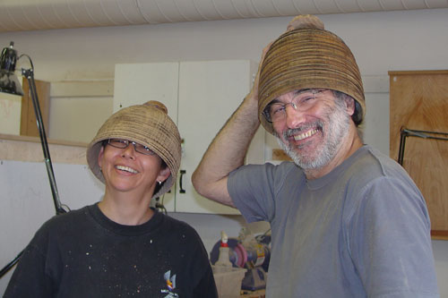 Jean-François's designer Chinese elm hats.