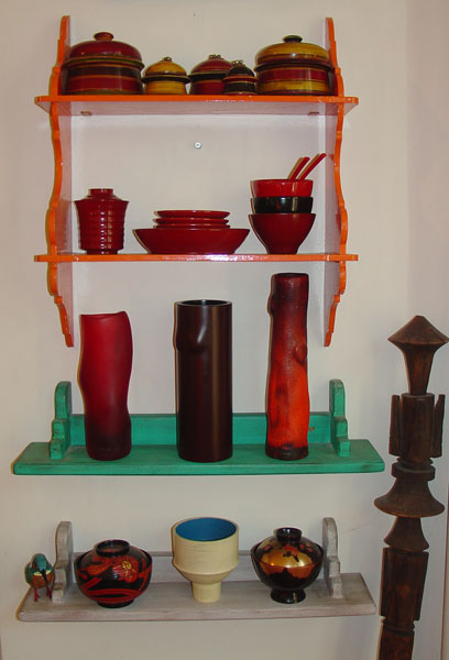Lacquerware (and more) in the LeCoffs' living room.