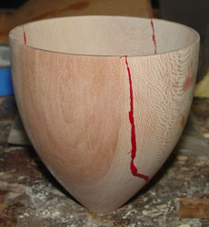 The exterior of the first glued bowl.