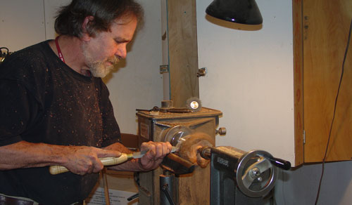 Sean turning a new piece from manzanita root.