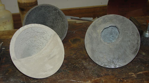 New (and old, in the background) cement bowls by Jean-François.