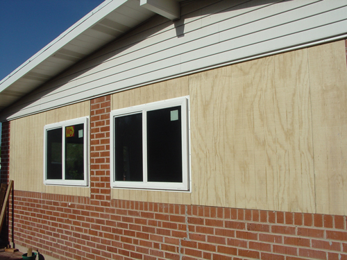 The new siding on the outside of the studio.