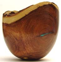 Mesquite bowl with turquoise inlay