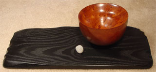 """Basin"": Redwood bowl on a painted sassafras base, with beach pebble"