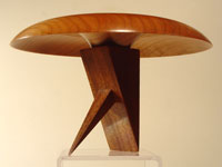 """Crane"" (Flight Series No. 4): Cherry bowl on a Brazilian cherry stand"