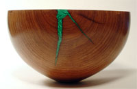 Mesquite bowl with malachite inlay